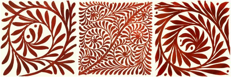 William De Morgan red lustre field tiles