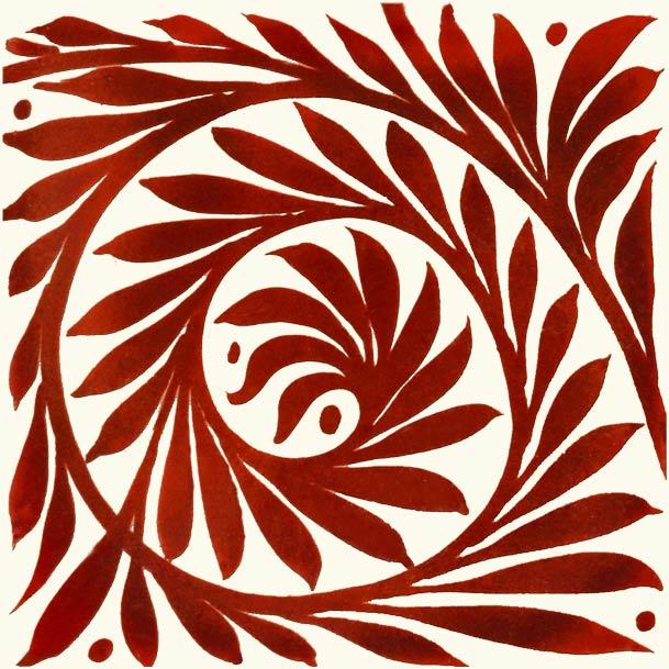 William De Morgan foliage scroll, open