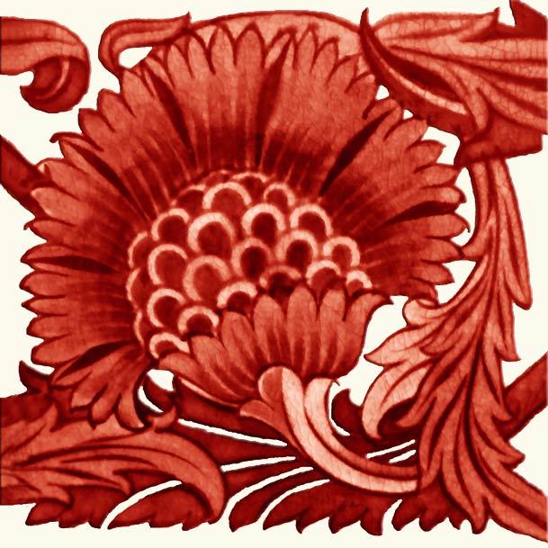 William De Morgan Red Lustre Sunflower