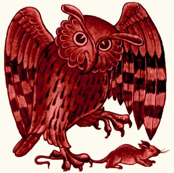 William De Morgan Red Lustre Owl and Rat