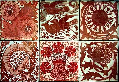 William De Morgan red lustre tiles