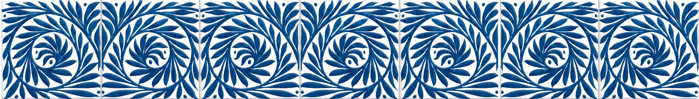 William De Morgan blue and white scroll border
