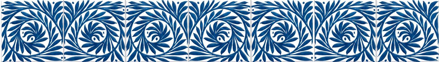 William De Morgan blue and white scroll border