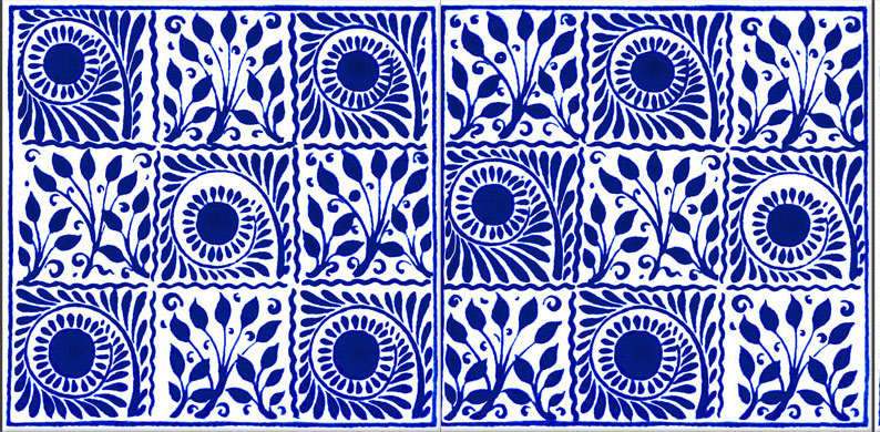 William De Morgan Scrolls and Boughs, Original Cobalt, nine square
