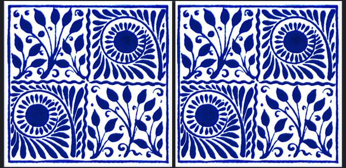William De Morgan Scrolls and Boughs, Original Cobalt, four square