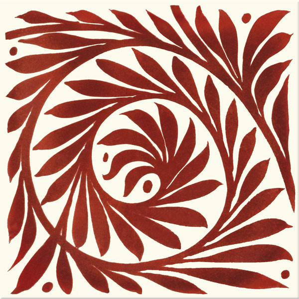 William De Morgan Red Lustre Leaf Scroll, open