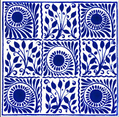 William De Morgan Boughs and Scrolls, 6 inch tile