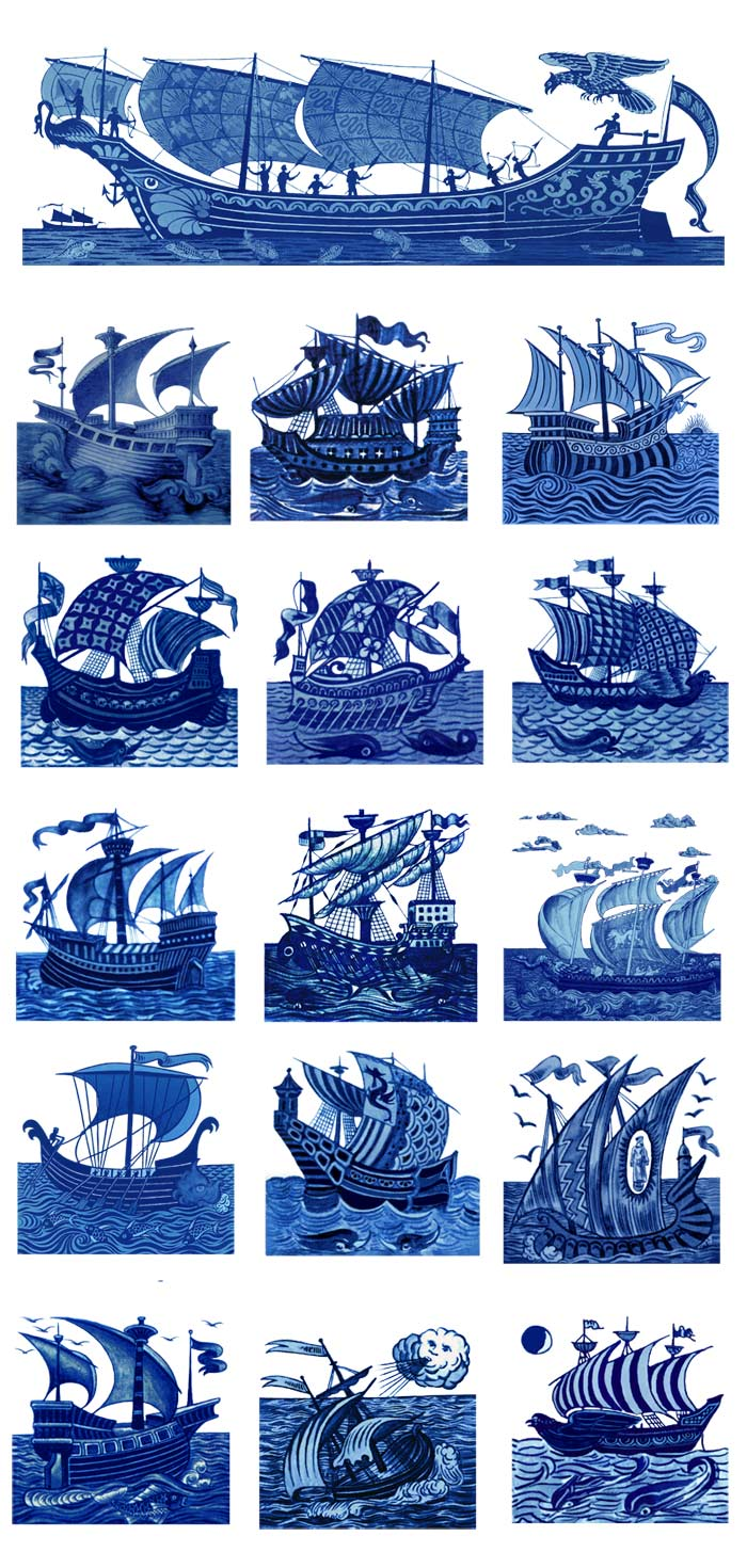 16 William De Morgan ships. 4.25 inch tiles. WilliamMorrisTile.com