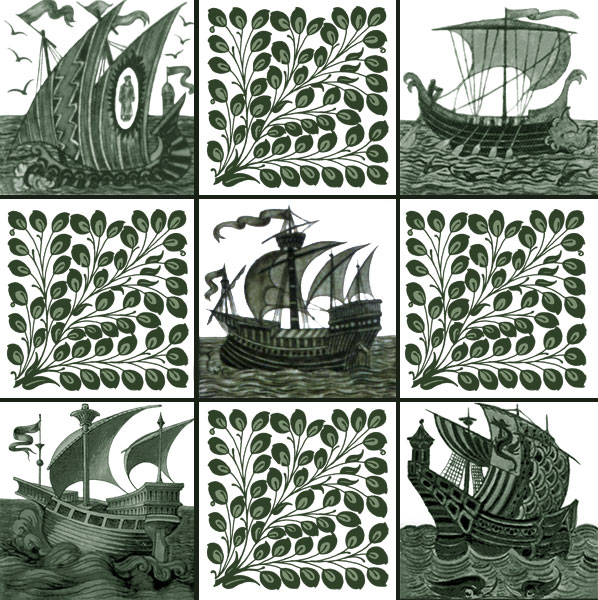 William De Morgan ships and foliage tiles, 4.25 inch tiles