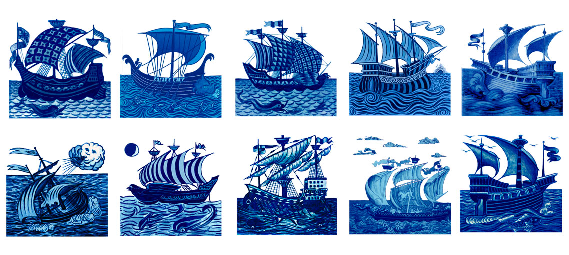 William De Morgan ships and galleons, eight-inch tiles