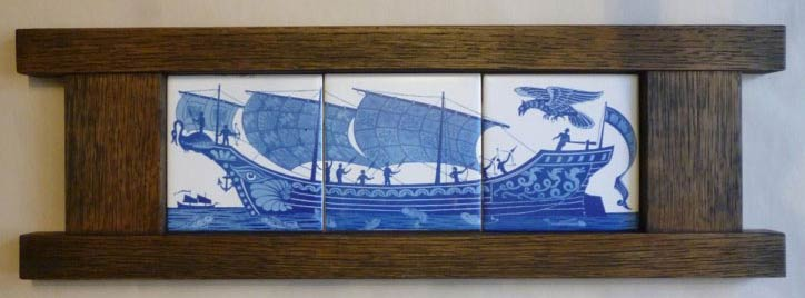 William De Morgan three tile galleon with phoenix