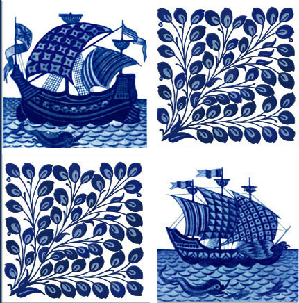 William De Morgan ships and foliage, six-inch tile