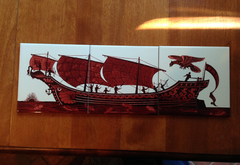 William De Morgan Ship Triptych in Red Lustre