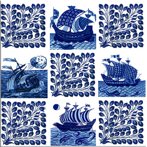 William De Morgan ships and foliage, eight-inch tile