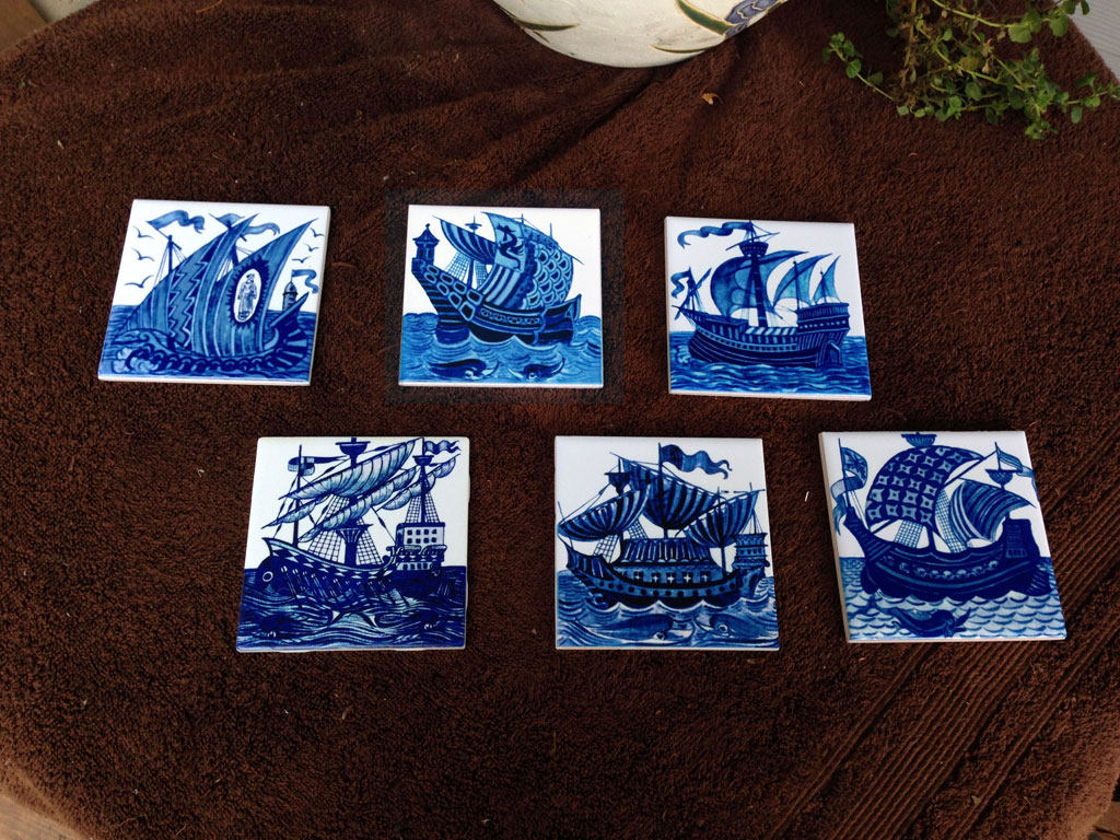De Morgan Galleons showing light and dark variations: From top left:  Chinese junk, Phoenician dragon ship, Brisish warship, furled sailing ship, Man o' War, Armada flagship with two sail patterns