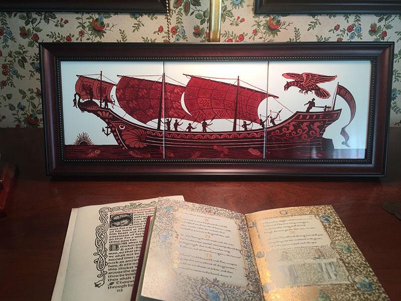 Framed red lustre De Morgan Archer Triptych, Elk Grove, California.