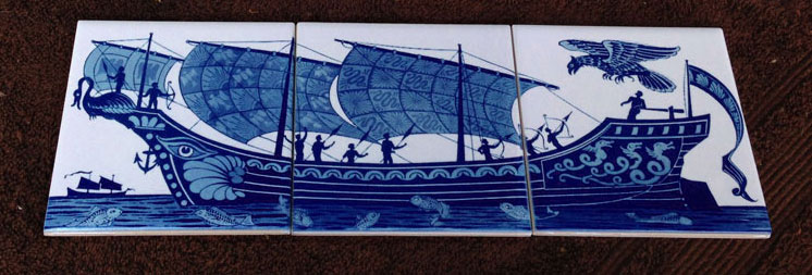 William De Morgan three-tile panel of ship with archers and magic bird