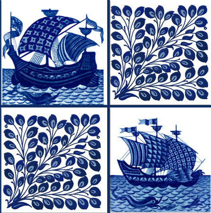 William De Morgan ships and foliage, alternating tiles