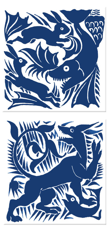Early Art Nouveau tiles, William De Morgan: Shark and hares, Dog and Fish