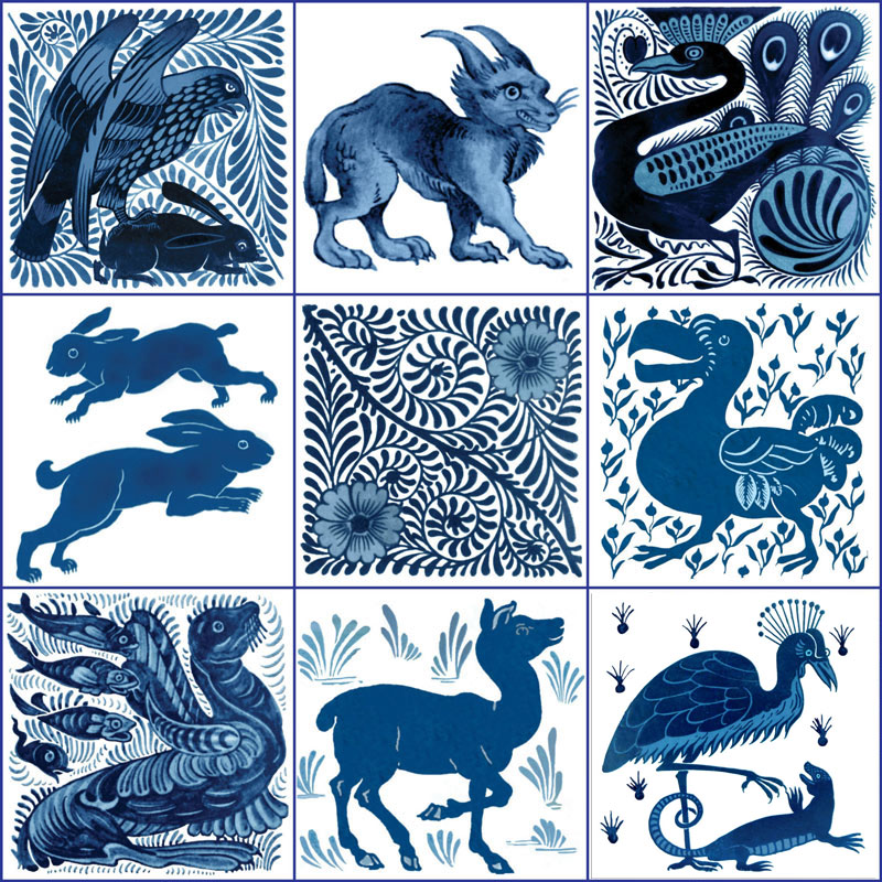 From top left: Hawk and hare, lynx, Art Nouveau kingfisher, leaping hares, scroll and flowers, Dodo and berries, seal and fishes, deer, Secretary Bird and Salamander. William De Morgan blue and white birds and beasts tiles. WilliamMorrisTile.com