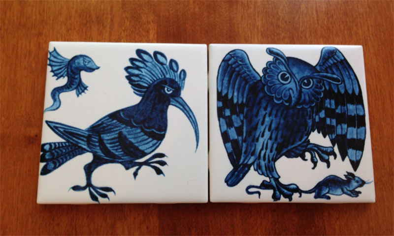 William De Morgan blue and white animal tiles