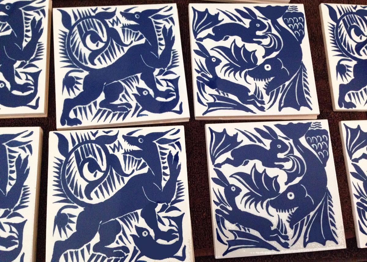 William De Morgan early Art Nouveau tiles, blue and white creatures. William Morris Tile