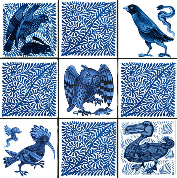 William De Morgan fantastic birds and scroll field tiles