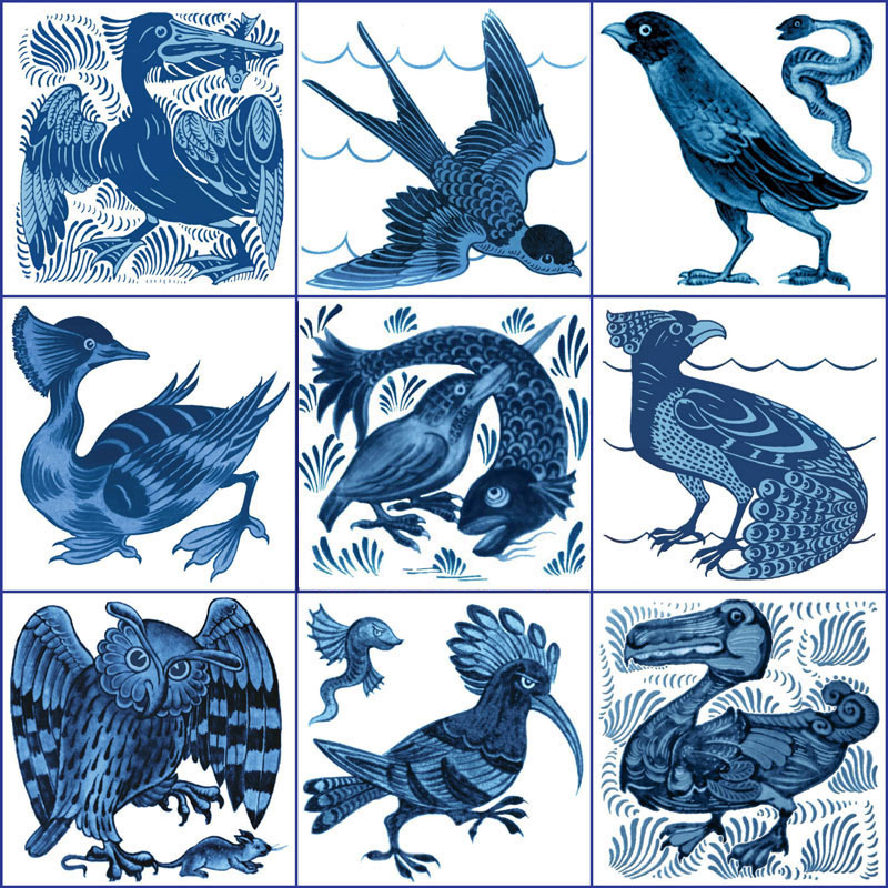From top left: Pelican, diving swallow, crow and worm, grebe, fishing kingfisher, subtle peacock, owl and rat, hoopee, Art Nouveau Dodo. William De Morgan blue and white birds. from WilliamMorrisTile.com