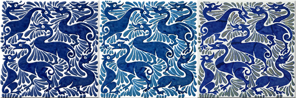 William De Morgan fantastic ducks in indigo, blue and blue on white, and Fulham ducks
