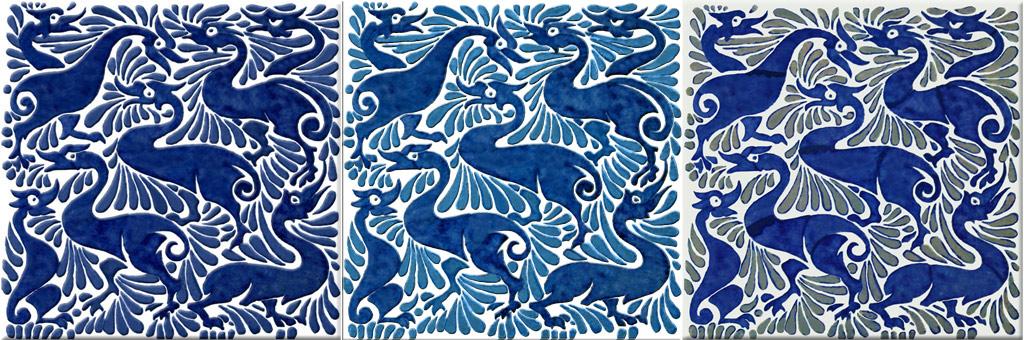 William De Morgan fantastic ducks in indigo, blue and blue on white, and Fulham ducks
