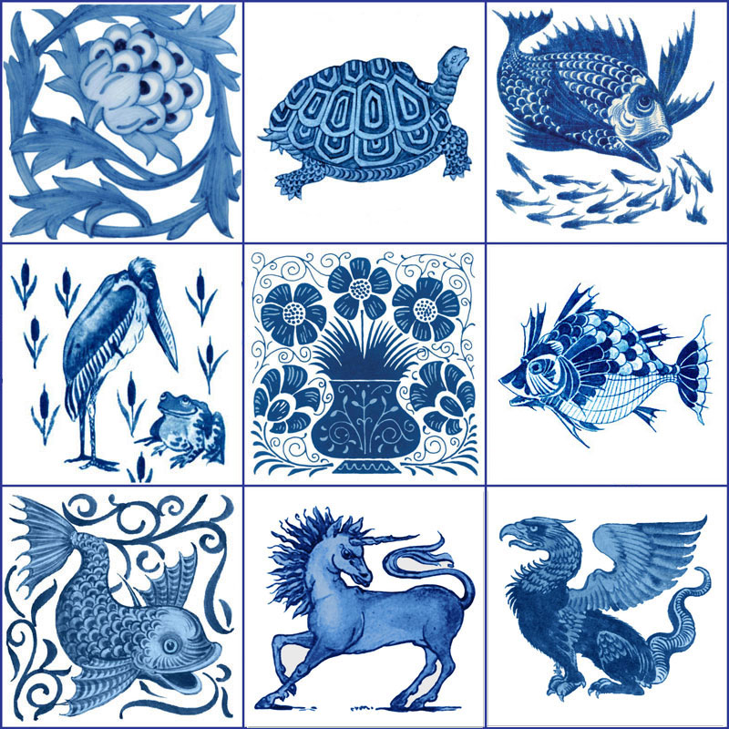 Artichoke, tortoise, big fish-little fish, pelican and frog, Persian vase, great fish, happy dolphin, unicorn, griffin. William De Morgan blue and white fish and flowers tiles. WilliamMorrisTile.com