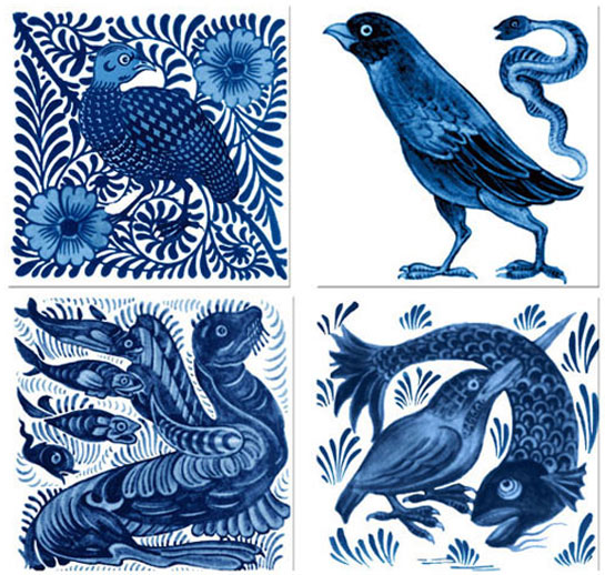 From top left: Grouse on scroll background, Eagle and Serpent, Seal and Fishes, Kingfisher bird and fish.  William De Morgan fantastic birds and beasts tiles. from WilliamMorrisTile.com