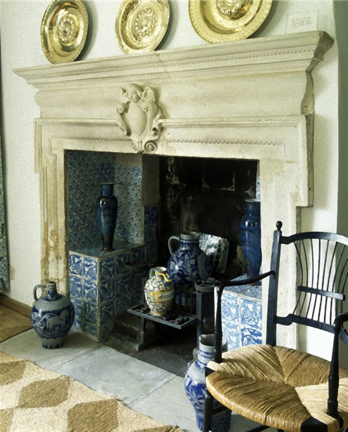 Blue Artichoke Fireplace Tiles at Kelmcott Manor