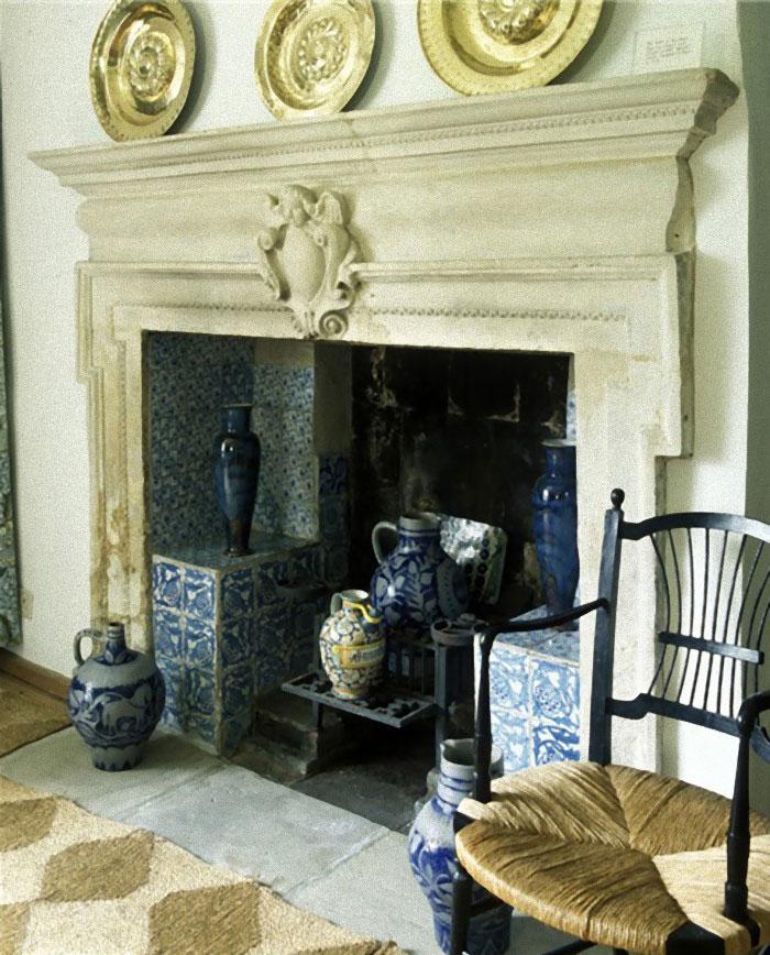 Blue Artichoke Fireplace Tiles at Kelmcott Manor