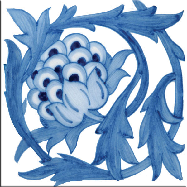 William Morris - William De Morgan Blue Artichoke tile