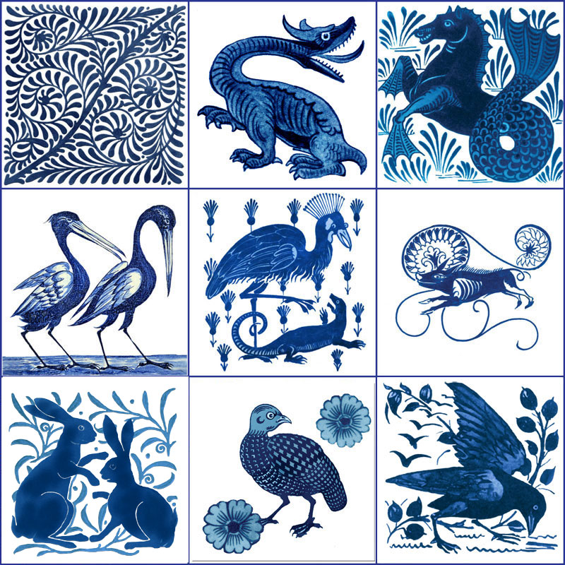 From left: Scroll, Jabberwocky, hippocamp, two storks, secretary bird and salamander, peccary, boxing rabbits, grouse, bird and foliage. William De Morgan blue and white fantastic creatures tiles. WilliamMorrisTile.com