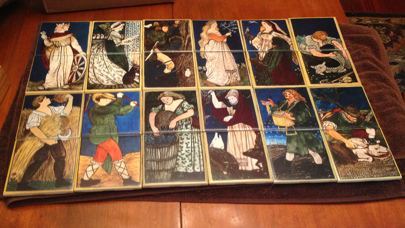 William Morris Tile: Photo of Labours of the Months tiles, complete.