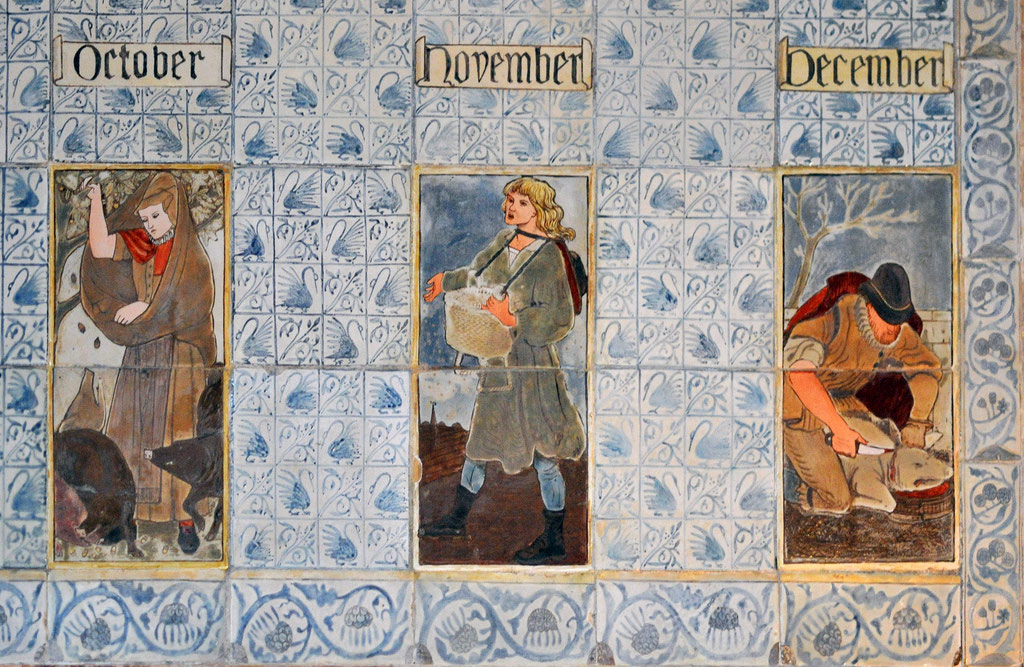 Swan field tiles for the Labors of the Month at Queens College overmantel, produced by Morris and Co.