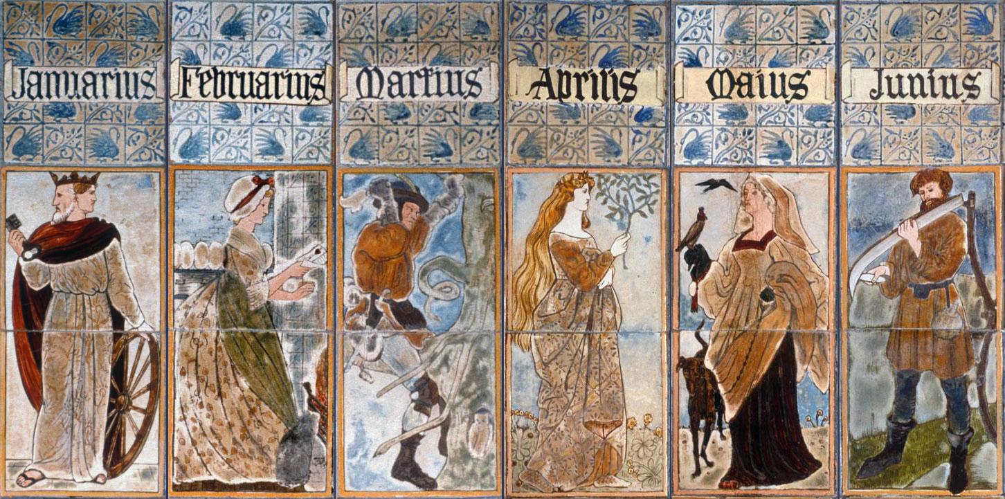 Pre-Raphaelite tiles, Queens College overmantel, Cambridge. January to June
