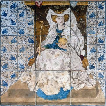 Margaret of Anjou, addition to the Queens College overmantel, produced by Morris and Co.