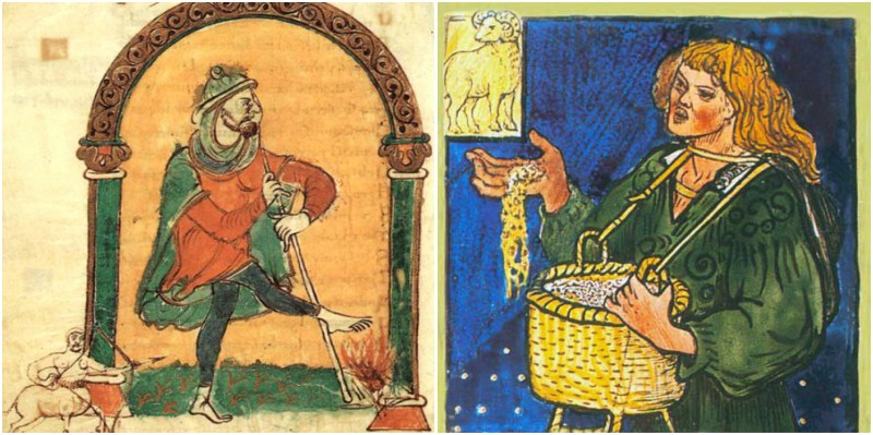 Left: Month of December from Wandalbert von Prum, Martyrologium. German, 9th c. Vatican Library in Rome.  Right: Philip Webb astrological inset for month of November