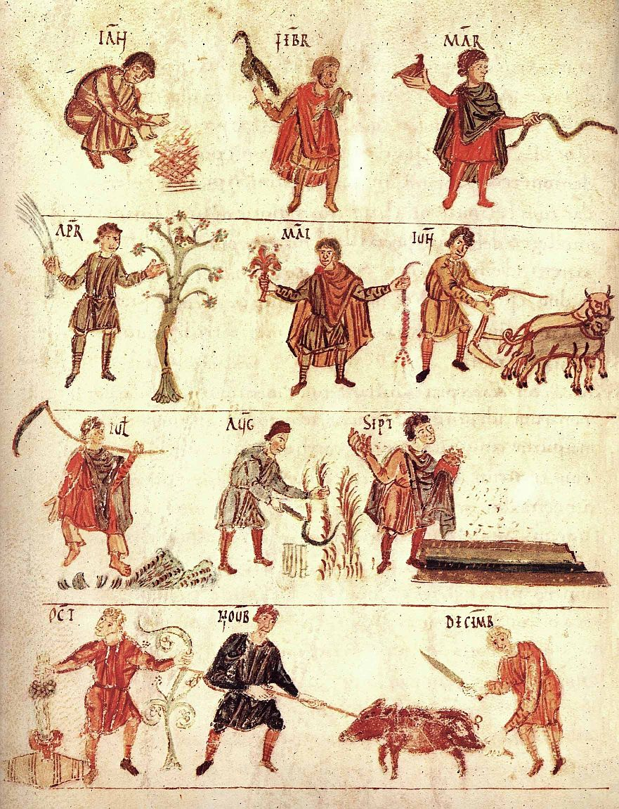 Salzburg manuscript Labors of the Month, early 800s.