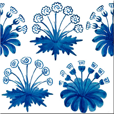Morris 1860s two-color daisies in blue and white