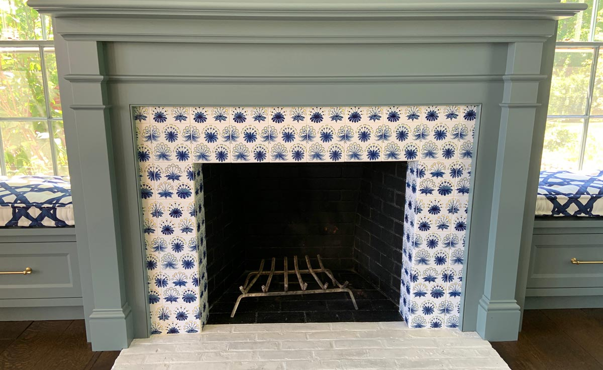 William Morris Evolution of Daisies fireplace, front view