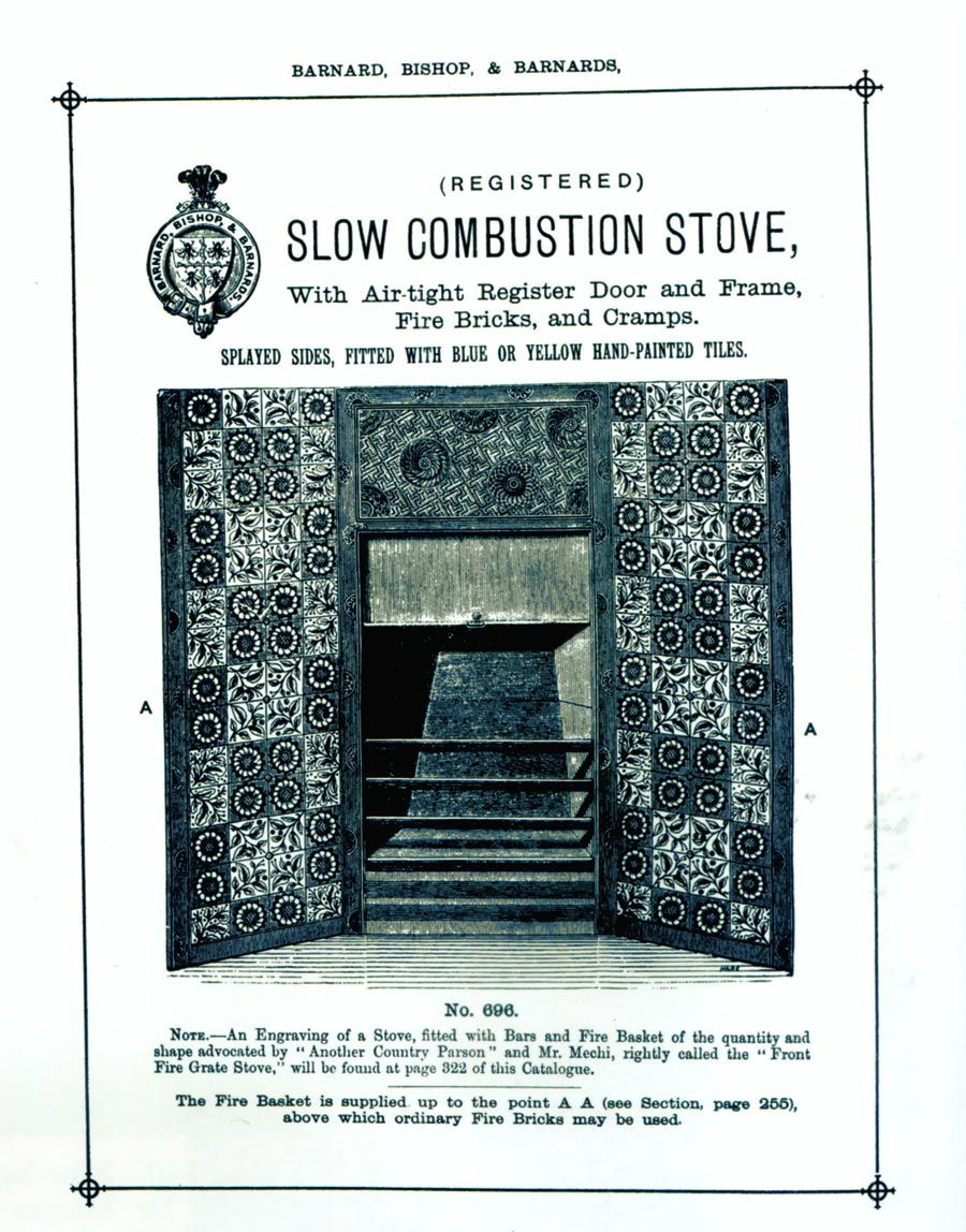 Combustible stove from 1884 catalog showing Morris Longden tiles in reversed layout.