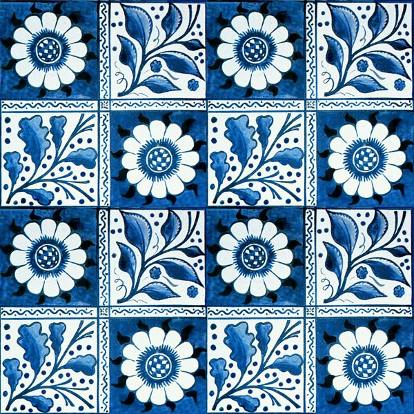 William Morris and Philip Webb early blue longden tile, 6 inch tile