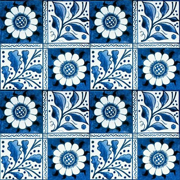 William Morris and Philip Webb early blue longden tile, 6 inch tile