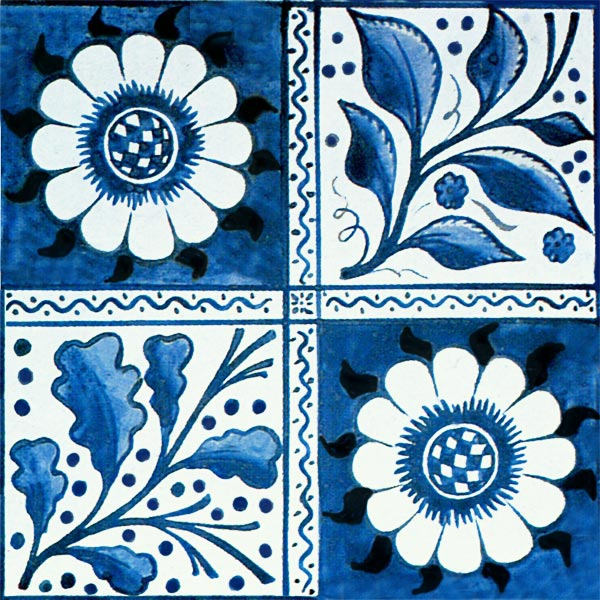 William Morris early blue Longden, early Morris Marshall Faulkner and Co. tile designed by Philip Webb