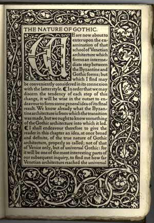 John Ruskin's Nature of the Gothic, Kelmscott Press