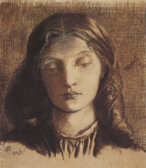 Lizzie Siddal, 1855, pen and ink drawing by Dante Gabriel Rossetti